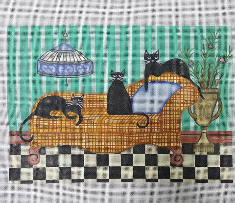 Needlepoint Handpainted Cindi Lynch Black Cats on Orange Couch 8x11