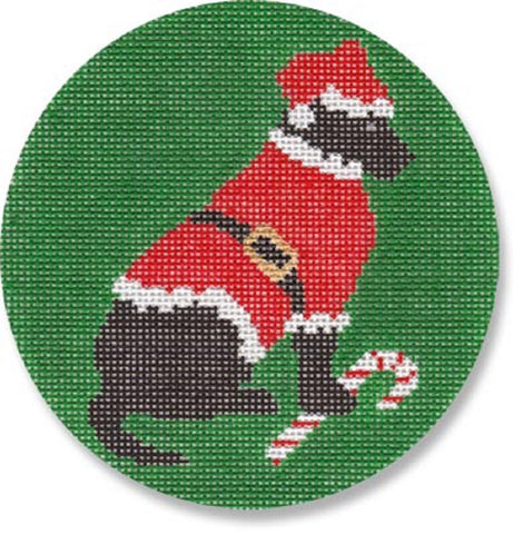 NEEDLEPOINT Handpainted LAURA Megroz CHRISTMAS Dog Ornament BLACK Lab Santa
