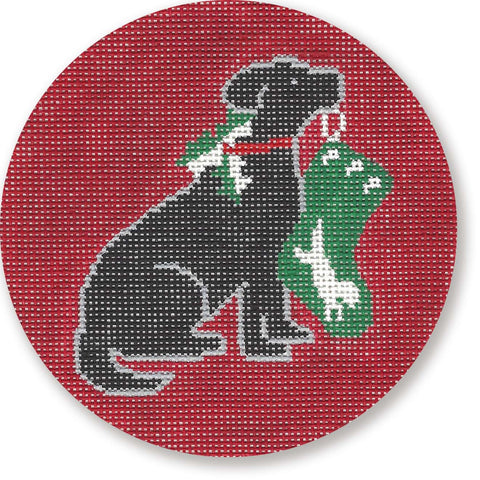 NEEDLEPOINT Handpainted LAURA Megroz CHRISTMAS Ornament Black Lab w/ Stocking