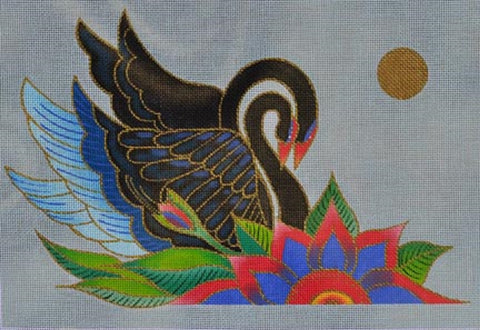 Needlepoint HandPainted DANJI Laurel Burch Black Swans 12x8