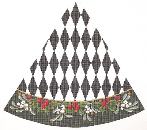 Needlepoint Handpainted Christmas KELLY CLARK Tree Black White HARLEQUIN Holly