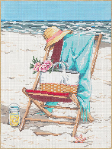 NEEDLEPOINT HANDPAINTED Canvas Sandra Gilmore BEACH Chair BLISS 8x11
