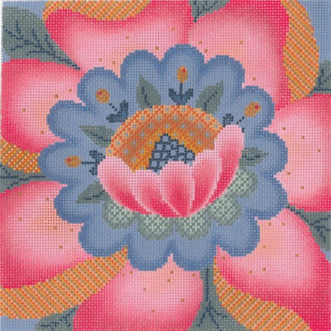Needlepoint Handpainted Abigail Cecile BLOOM 8x8