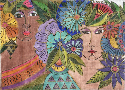 NEEDLEPOINT Handpainted Laurel Burch Blossoming Women 14x10