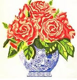 Needlepoint Handpainted Jean Smith Blue Vase of Roses ~ Pink or Coral 14x14