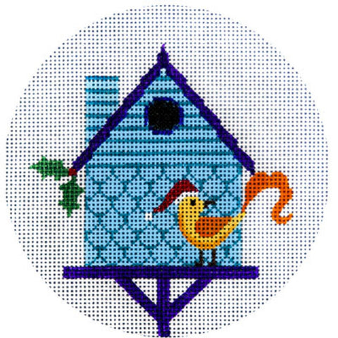 NEEDLEPOINT HandPainted JP Needlepoint CHRISTMAS Blue Birdhouse Ornament 4.5""
