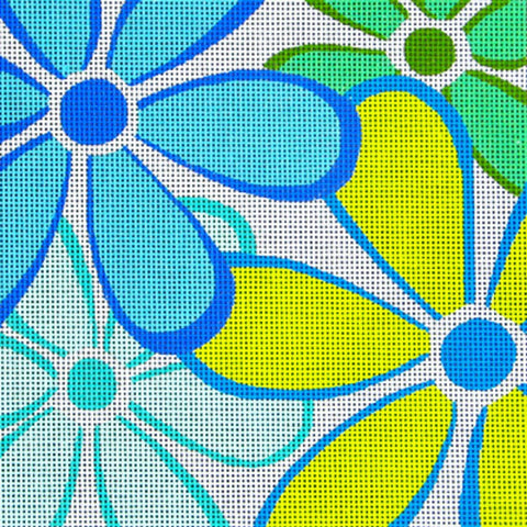 NEEDLEPOINT HandPainted Canvas Amanda Lawford DAISIES Blue DC Designs 8x8