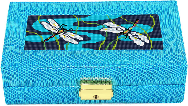 Needlepoint LEE Jewelry Case LEATHER Blue
