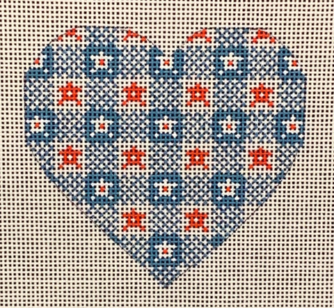 Needlepoint Handpainted CHRISTMAS Danji Blue and Red Heart 3x3