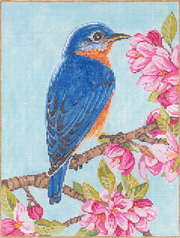 Needlepoint HANDPAINTED Canvas Sandra Gilmore BLUEBIRD 6.75 x 9