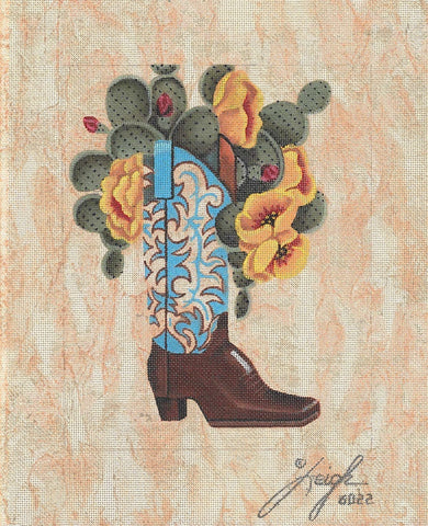 Needlepoint Handpainted Leigh Designs Boot Hill 8x10