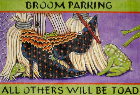 Needlepoint Handpainted HALLOWEEN Share Ones Ideas Broom Parking 14x10