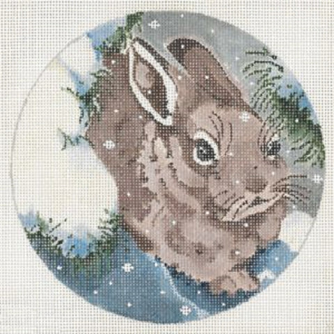 Needlepoint Handpainted Christmas JOY JUAREZ Brown Bunny Ornament 6""