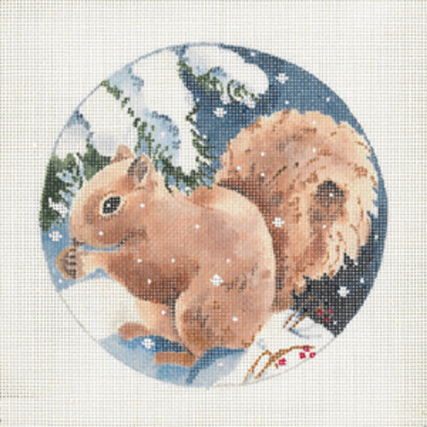 Needlepoint Handpainted JOY JUAREZ Christmas SQUIRREL Brown 5.75""