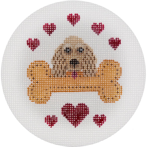 Needlepoint Handpainted CHRISTMAS JP Needlepoint Cocker Spaniel Buff 4.5""