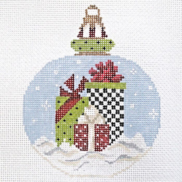 Needlepoint Handpainted KELLY CLARK Christmas Bunch O' Gifts Ornament