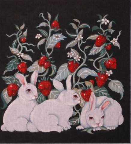 Needlepoint Handpainted Share Ones Bunnies and Berries 14x15