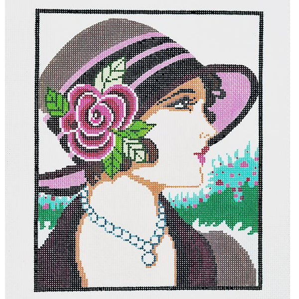 Needlepoint Handpainted LEE Vogue Lady Burgundy 8x10