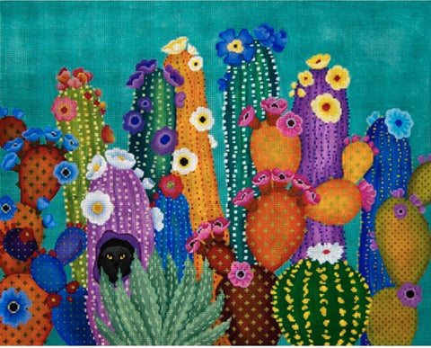 Needlepoint Handpainted JP Needlepoint CACTUS Smacked Us 12x15