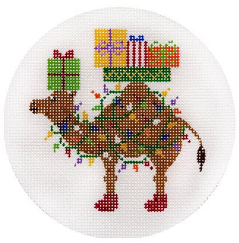 Needlepoint Handpainted CHRISTMAS JP Needlepoint Camel w/ Xmas Gifts