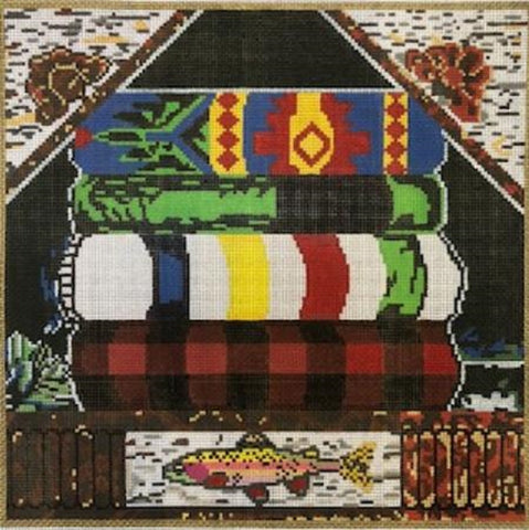 Needlepoint HandPainted Susan Wallace Barnes CAMP BLANKETS 12x12