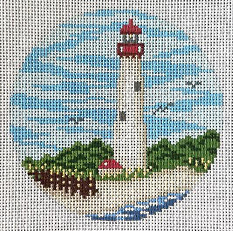 Needlepoint Handpainted Christmas Needle Crossings Cape May Lighthouse 4""