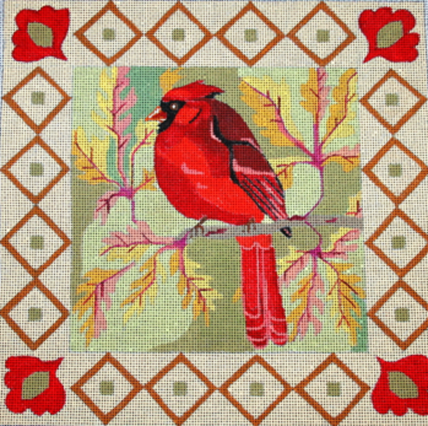 Needlepoint Handpainted Melissa Prince Cardinal + Stitch Guide