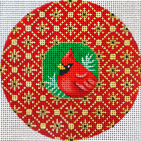 NEEDLEPOINT Handpainted Amanda Lawford CHRISTMAS Cardinal Rhinestone w/ Beads
