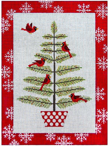 Needlepoint Handpainted Christmas JP Needlepoint Cardinals in Pine Tree 8x11