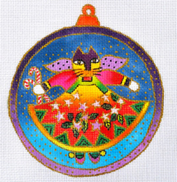 NEEDLEPOINT Handpainted Christmas LAUREL BURCH Cat Angel Ornament