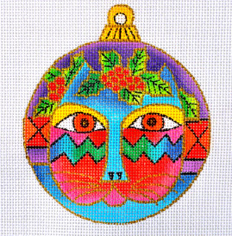 NEEDLEPOINT Handpainted Christmas LAUREL BURCH Cat Face Ornament