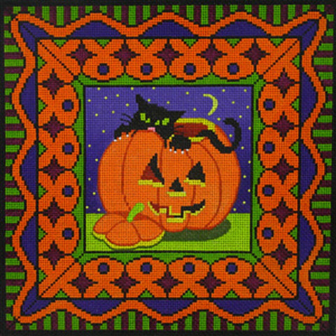 NEEDLEPOINT HandPainted Canvas Amanda Lawford CAT AND PUMPKIN 11x11