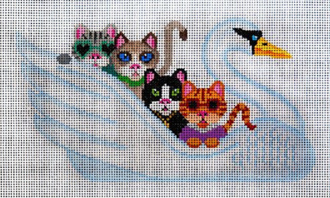 Needlepoint HandPainted JP Needlepoint CATS Swan Song 6x10
