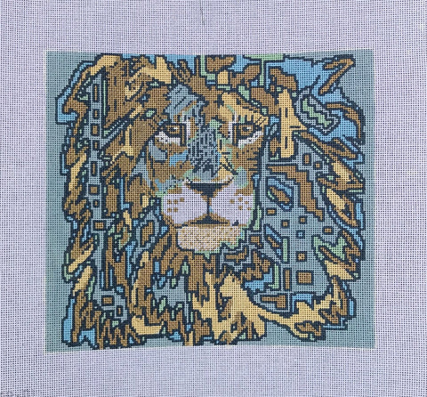 NEEDLEPOINT Handpainted Tess Thorn Alexander LION Cecil 12x11