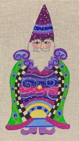 Needlepoint Handpainted CHRISTMAS Danji Celestial Night Santa 5x9
