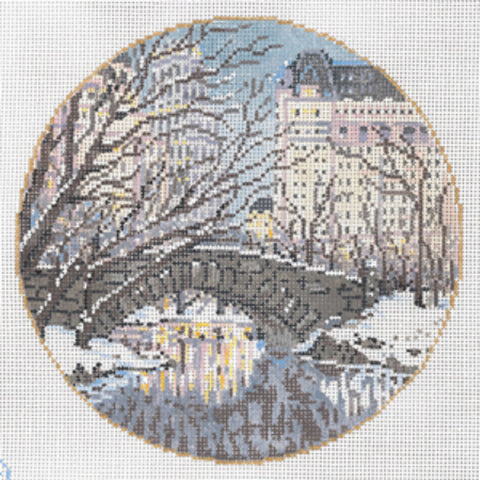Needlepoint Handpainted Canvas SANDRA GILMORE Central Park NEW YORK 6.25""