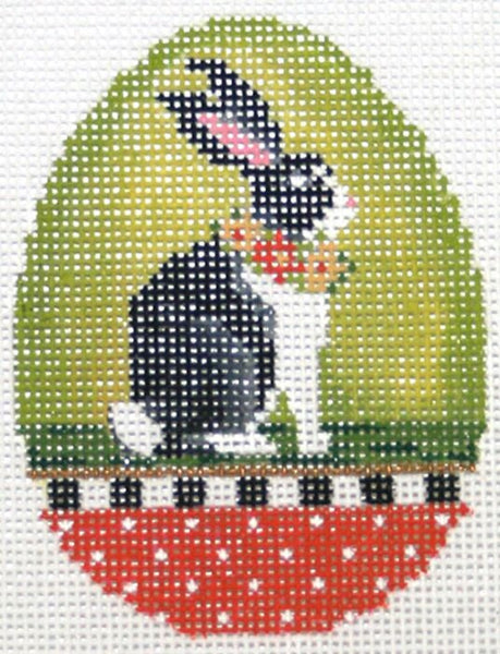 Needlepoint Handpainted Kelly Clark EASTER Egg Mama Rabbit 3x3