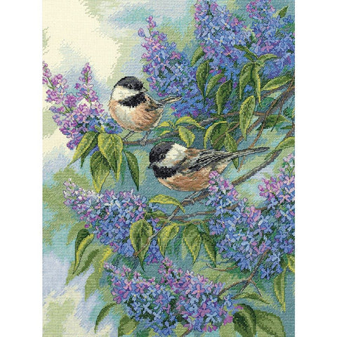 Counted Cross Stitch Dimensions Kit Chickadee and Lilacs 12x16