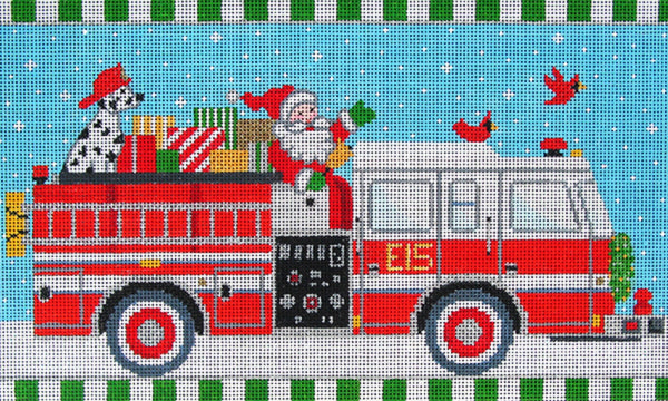 NEEDLEPOINT Handpainted Amanda Lawford CHRISTMAS Firetruck DC Designs 10x6