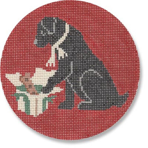 Needlepoint Handpainted Christmas Morning Black Lab CBK