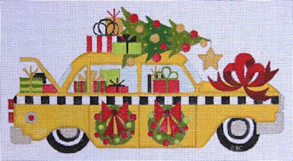 Needlepoint Handpainted Raymond Crawford Christmas Taxi Cab 5x9