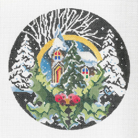 Needlepoint Handpainted Canvas JOY JUAREZ Christmas Church and Trees Ornament