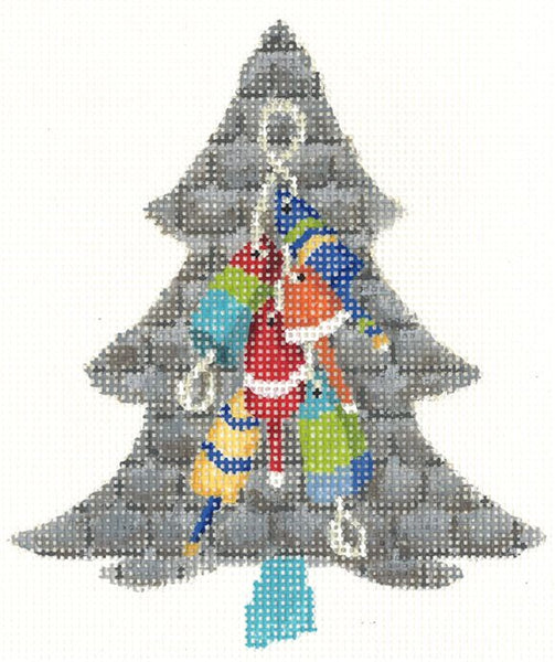 Needlepoint Handpainted KELLY CLARK Tree Lobster KIT w/ Stitch Guide & Threads