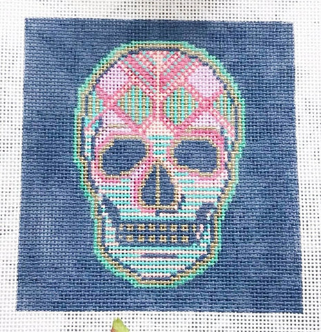 Needlepoint Handpainted Thorn Alexander COCO Candy Skull La Calavera