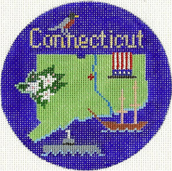 Needlepoint Handpainted Silver Needle Connecticut Christmas Ornament