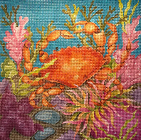 Needlepoint Handpainted Amanda Lawford Coral Reef CRAB 11x11