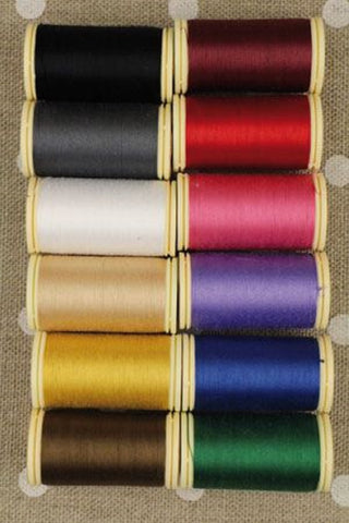 Cotton THREAD Fil au Chinois #1 DARK Tones Asst Set of 12 w/Box