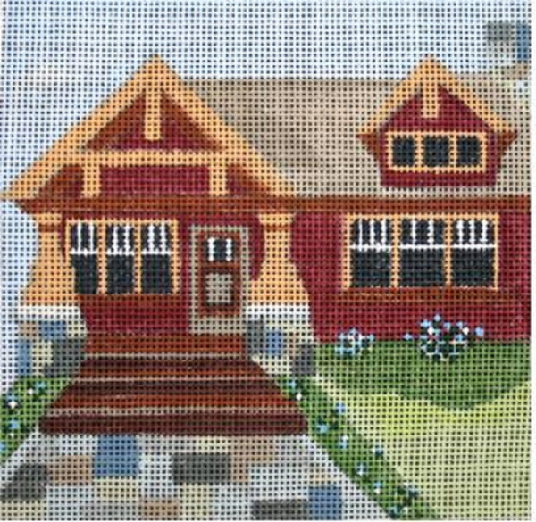 Needlepoint Handpainted Melissa Prince CRAFTSMAN HOUSE + SG 5x5