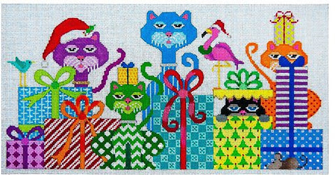Needlepoint Handpainted Crazy Cat Christmas JP Needlepoint 6x12