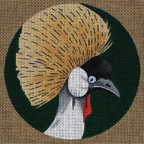 Needlepoint Handpainted Dede Coaster Bird Crowned Crane Africa 5.5""
